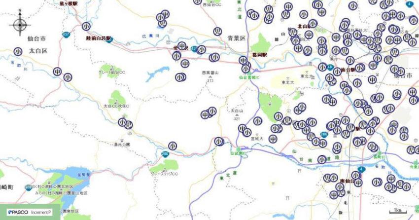 【太白区】学校・団体紹介地図イメージ
